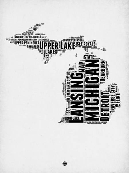 Wall Art - Digital Art - Michigan Word Cloud Map 2 by Naxart Studio