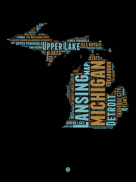 Wall Art - Digital Art - Michigan Word Cloud Map1 by Naxart Studio