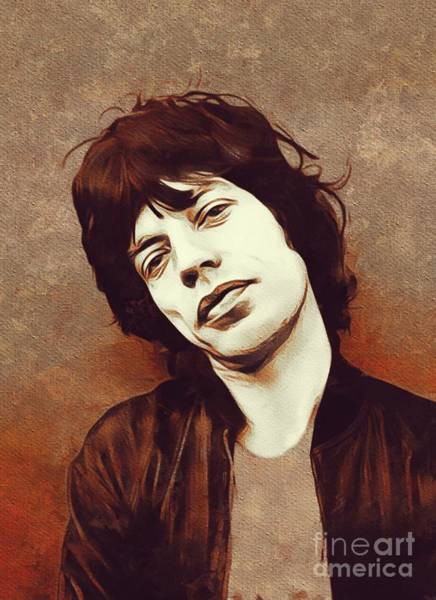 Wall Art - Painting - Mick Jagger, Music Legend by Mary Bassett