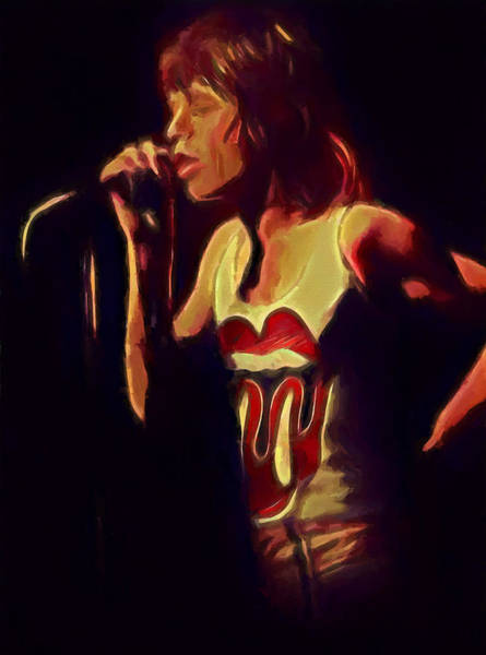 Wall Art - Painting - Mick Jagger Singing by Dan Sproul