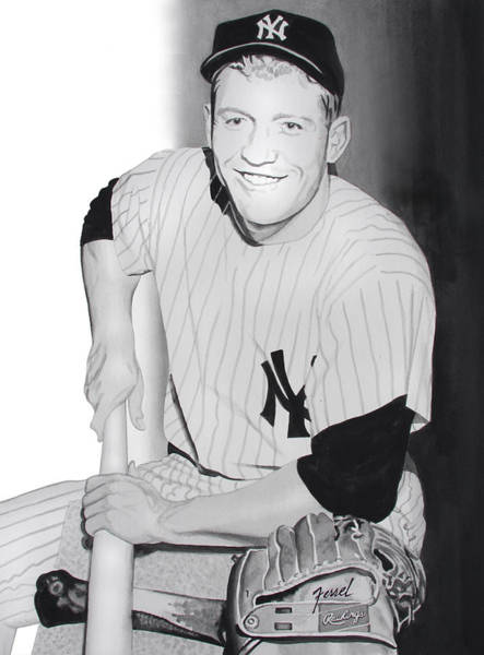 Mickey Mantle Wall Art - Painting - Mickey by Ferrel Cordle