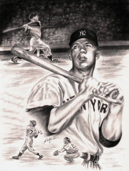 Mickey Mantle Wall Art - Drawing - Mickey Mantle by Kathleen Kelly Thompson