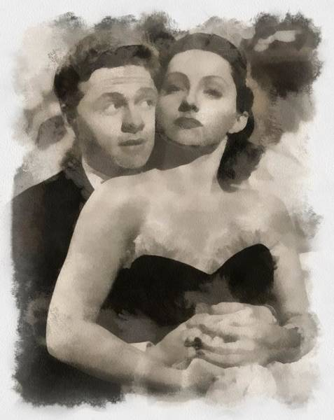 Wall Art - Painting - Mickey Rooney And Diana Lewis by Esoterica Art Agency