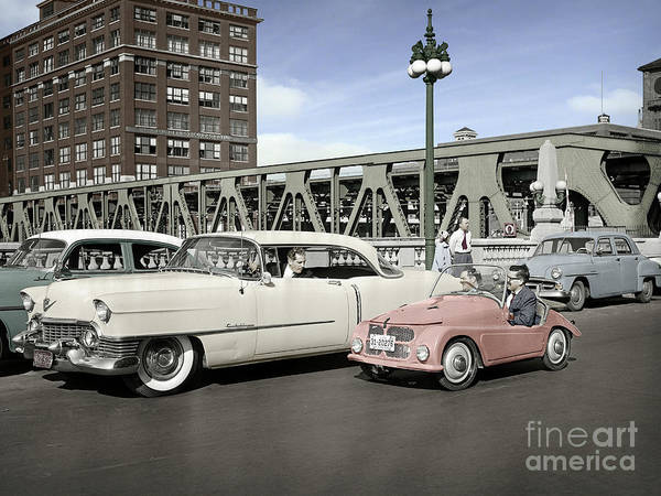 Photograph - Micro Car And Cadillac by Martin Konopacki Restoration