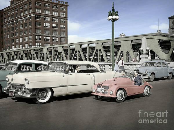 Photograph - Micro Car And Cadillac by Martin Konopacki Restoration