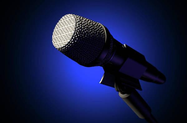 Talent Wall Art - Digital Art - Microphone And Stand Dark by Allan Swart