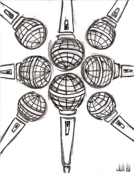 Electronica Drawing - Microphone Cross by Levi Glassrock
