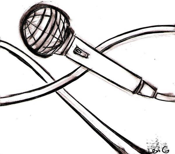 Electronica Drawing - Microphone by Levi Glassrock