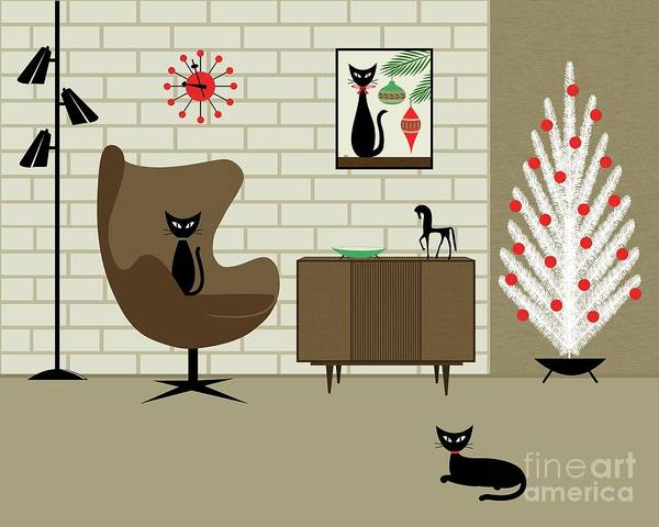 Tan Cat Wall Art - Digital Art - Mid-century Christmas by Donna Mibus