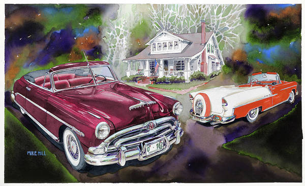 Collector Car Painting - Mid Century Classics by Mike Hill