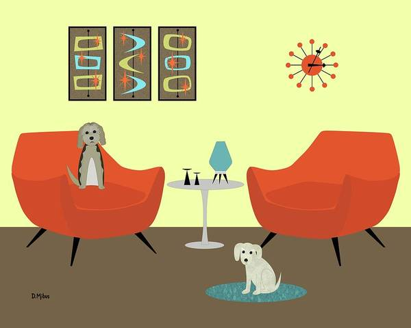 Digital Art - Mid Century Modern Dogs 1 by Donna Mibus