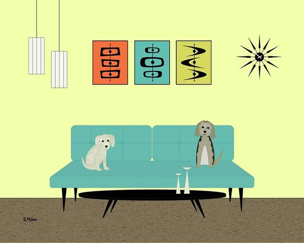 Digital Art - Mid Century Modern Dogs 2 by Donna Mibus