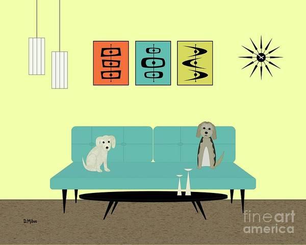 Digital Art - Mid Century Modern Dogs 2 by Donna Mibus