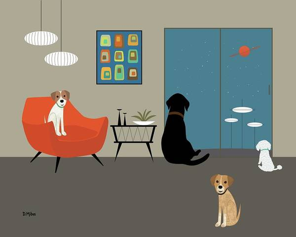 Digital Art - Mid Century Modern Dogs by Donna Mibus