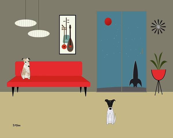 Wall Art - Digital Art - Mid Century Modern Fox Terriers by Donna Mibus