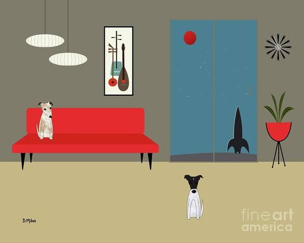 Digital Art - Mid Century Modern Fox Terriers by Donna Mibus