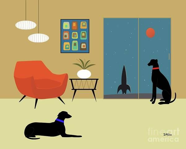 Digital Art - Mid Century Modern Greyhounds by Donna Mibus