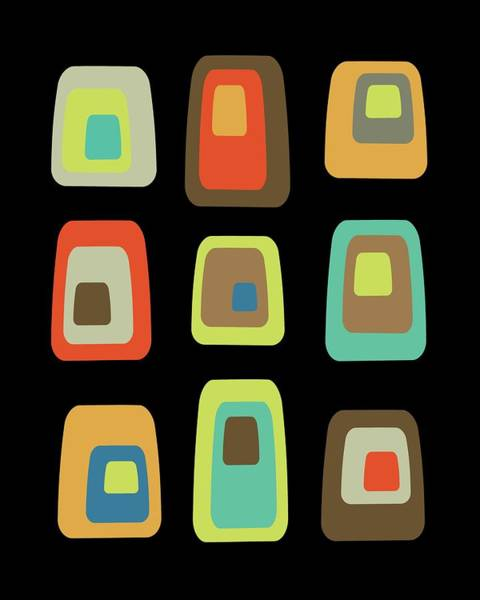 Digital Art - Mid Century Modern Oblongs On Black by Donna Mibus