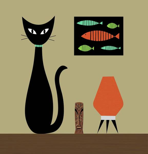 Shower Curtain Digital Art - Shower Curtain Tabletop Cat by Donna Mibus