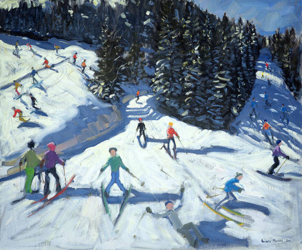 Ski Run Wall Art - Painting - Mid-morning On The Piste by Andrew Macara