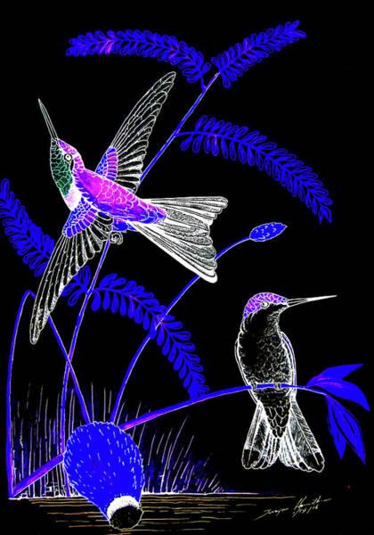 Nectar Mixed Media - Mid-night Humming Bird by Dwayne Hamilton
