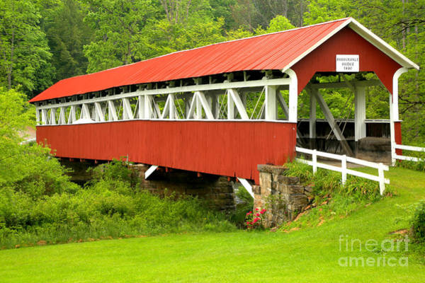 Laurel Hill Creek Photograph - Middle Creek Township Covered Bridge by Adam Jewell
