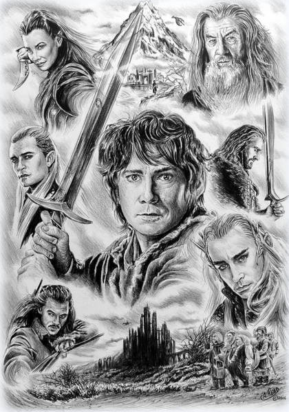 Jrr Drawing - Middle Earth by Andrew Read