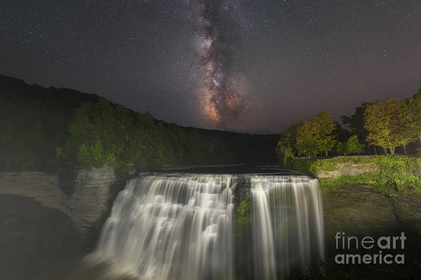 Letchworth Photograph - Middle Falls Milky Way Galaxy by Michael Ver Sprill