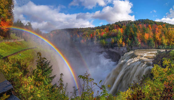 Photograph - Middle Falls Rainbow by Mark Papke