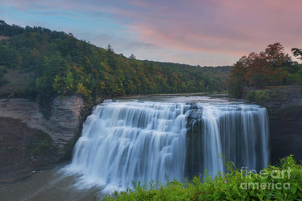 Letchworth Photograph - Middle Falls Sunset  by Michael Ver Sprill