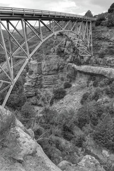 Photograph - Midgley Bridge - Oak Creek Canyon In Sedona Arizona Black White by Gregory Ballos