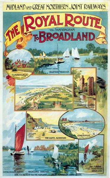 Sailboat Mixed Media - Midland And Great Northern Joint Railways - The Royal Route - Retro Travel Poster - Vintage Poster by Studio Grafiikka