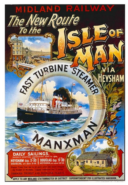 Railway Painting - Midland Railway, Steam Boat, Isle Of Man, Poster by Long Shot