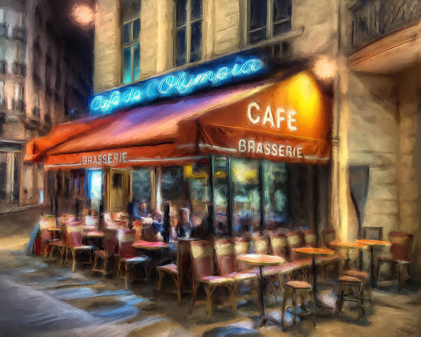 Brasserie Wall Art - Painting - Midnight At The Brasserie by Dominic Piperata
