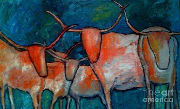 Longhorn Painting - Midnight At The Ranch by Roxie Nichols