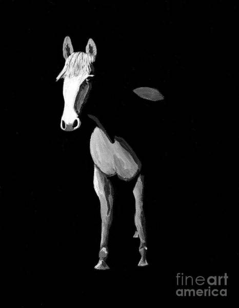 Painting - Midnight Beauty - Black And White Horse by Tracey Everington