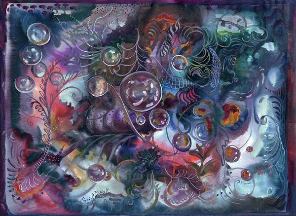 Midnight Dancing Bubbles Art Print