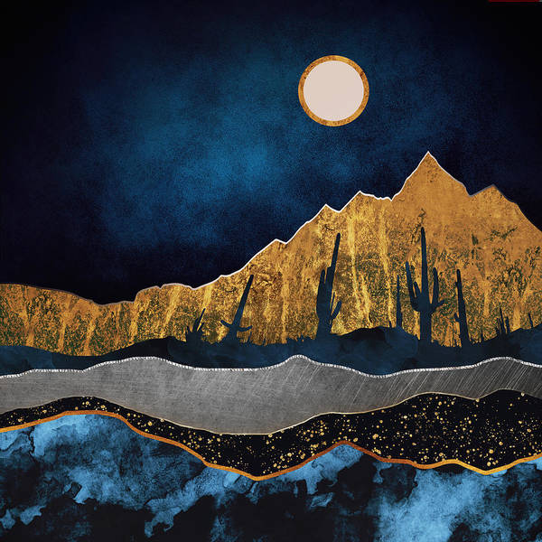 Wall Art - Digital Art - Midnight Desert Moon by Spacefrog Designs