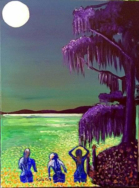 Daufuskie Island Wall Art - Painting - Midnight Dip by Aline Kala