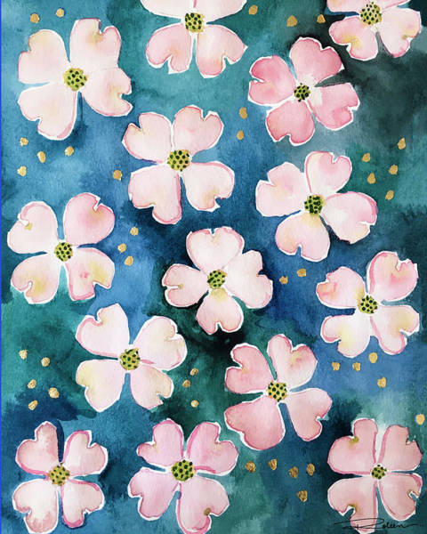 Floral Shower Curtain Painting - Midnight Dogwood by Roleen Senic
