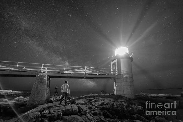 Marshall Point Lighthouse Photograph - Midnight Explore 2 Bw by Michael Ver Sprill