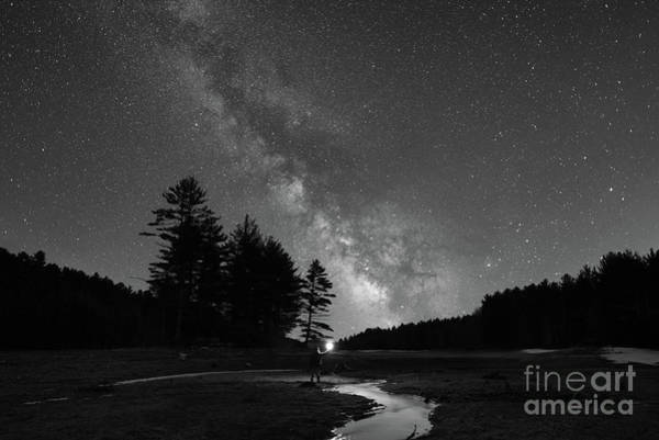 Photograph - Midnight Explore At Quabbin Reservoir Bw by Michael Ver Sprill