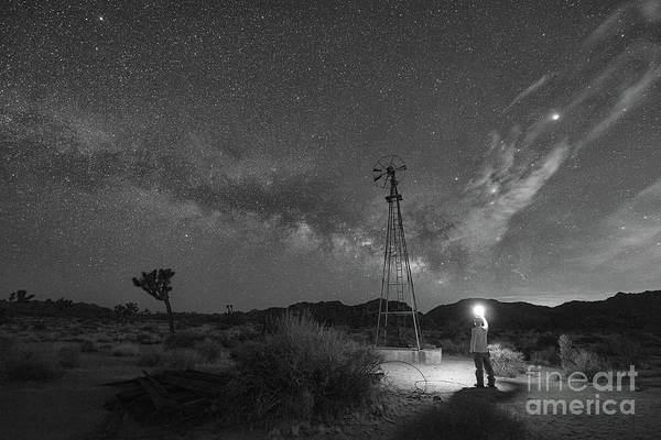 Thru Photograph - Midnight Explorer At An Abandoned Windmill Bw by Michael Ver Sprill