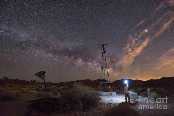 Thru Photograph - Midnight Explorer At An Abandoned Windmill by Michael Ver Sprill