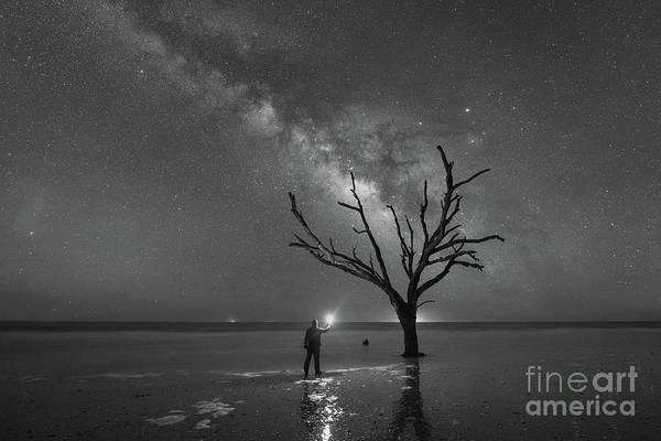 Wall Art - Photograph - Midnight Explorer At Botany Bay Beach Bw by Michael Ver Sprill