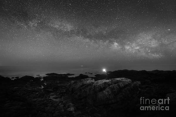 Photograph - Midnight Explorer At Marginal Way Maine Bw  by Michael Ver Sprill