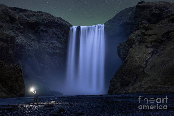 Photograph - Midnight Explorer At Skogafoss by Michael Ver Sprill