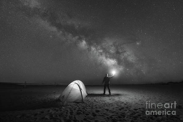Photograph - Midnight Explorer Camping Bw by Michael Ver Sprill