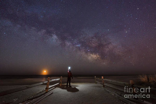 Moonrise Photograph - Midnight Explorer Moonrise Milky Way At The Jersey Shore by Michael Ver Sprill