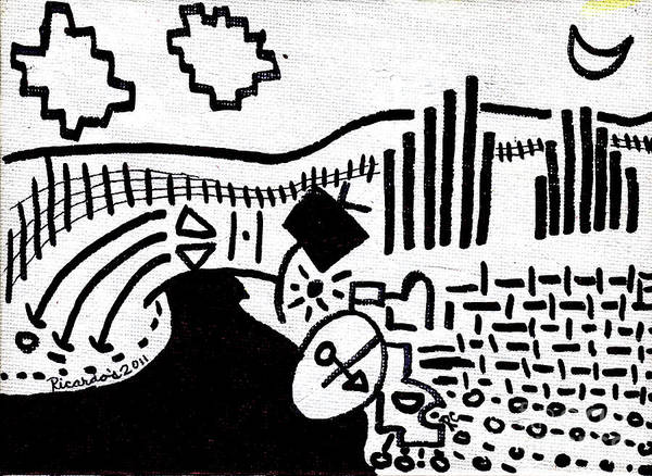 Drawing - Midnight Farm Original Black Ink On White Canvas By Ricardos by Ricardos Creations